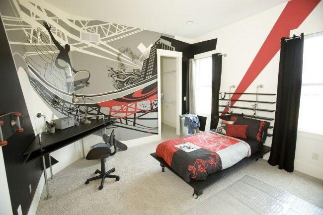 Фотообои со спортивной тематикой для современной комнаты мальчика