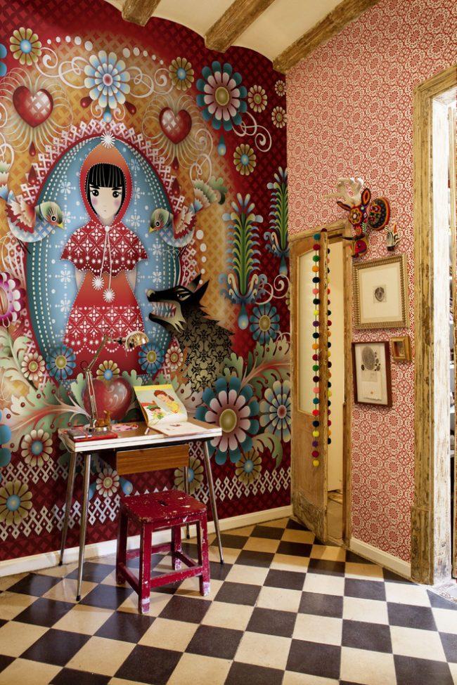 Яркий рисунок на фотообоях для детской комнаты в стиле эклектик