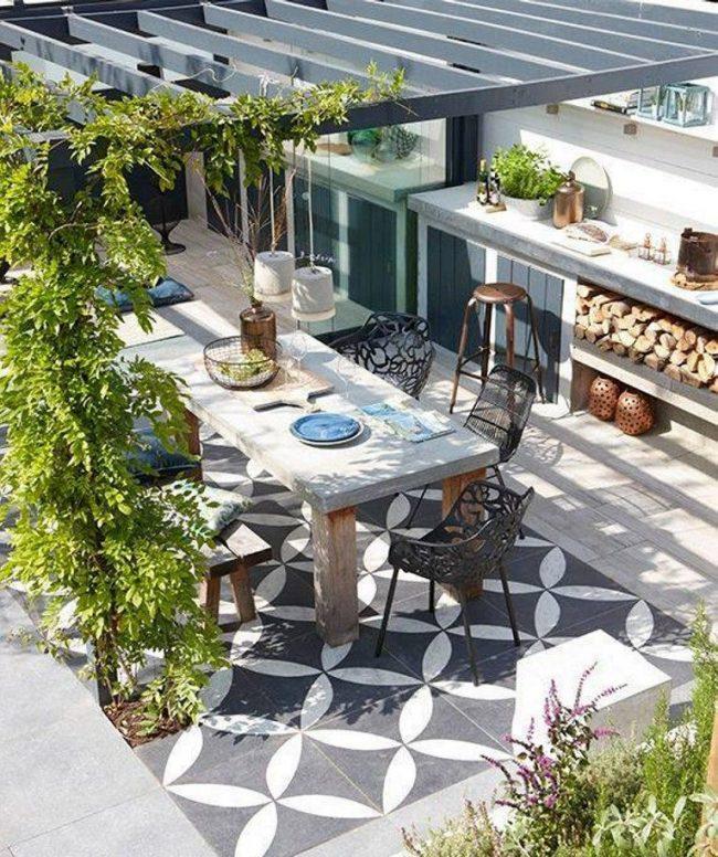 Терраса, как дополнительное жилое помещение. Пример пристройки к дому, выполняющей функции кухни и столовой