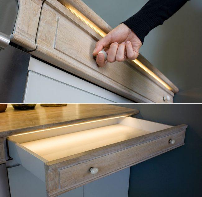 Ленты с минимальной силой света подходят для декорирования интерьера и для установки внутрь неглубоких ящиков и шкафов