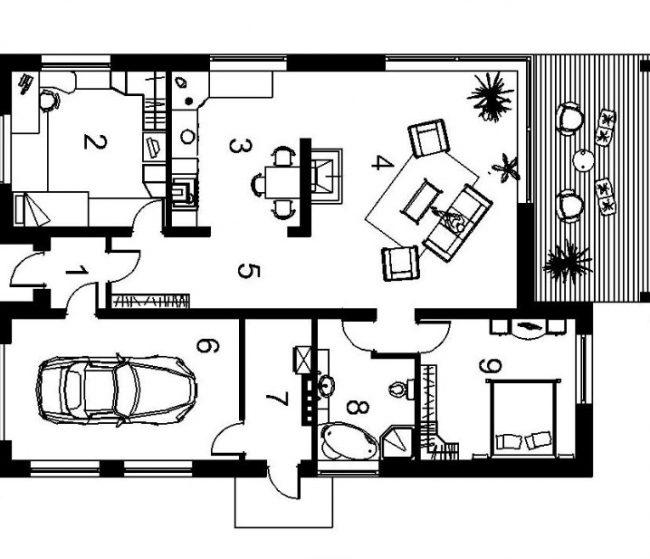 """Общий план дома по типовому проекту """"Matas"""": тамбур+прихожая - 13,3 кв. м; гостиная - 16 кв. м; кухня- 13,3 кв. м; гостиная- 32,4 кв. м; гараж - 21,2 кв. м; котельная - 6,3 кв. м; санузел 8,1 кв. м; спальня - 14,6 кв. м"""