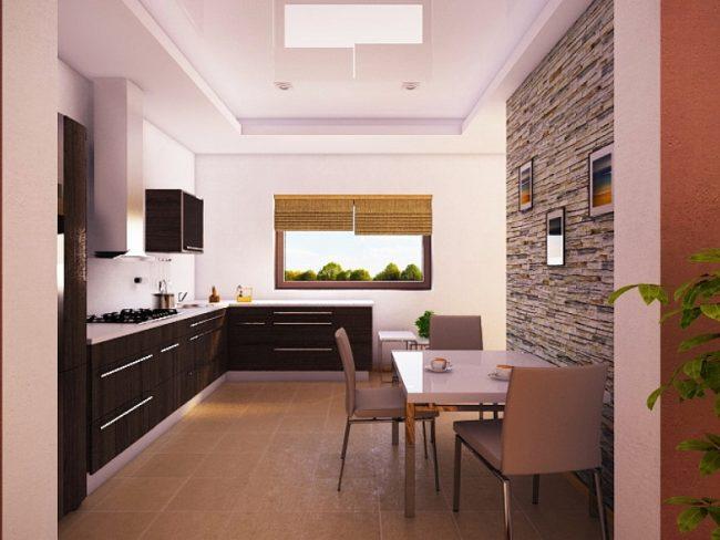 """Кухня средних размеров в типовом кирпичном доме """"Matas"""""""