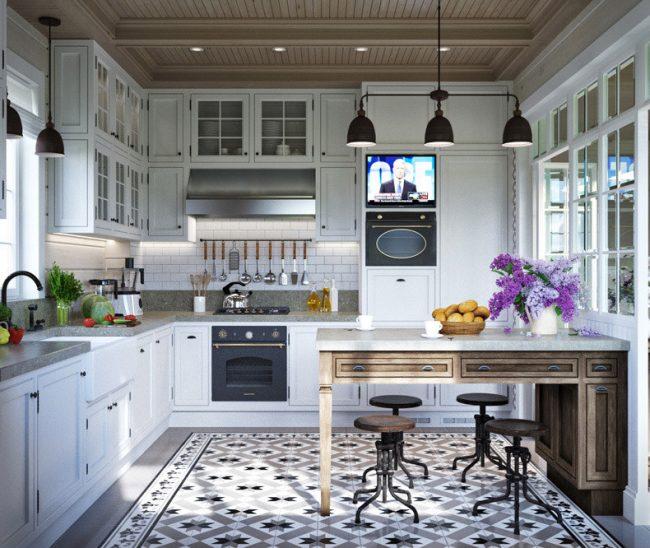 Практичная и красивая прованская кухня будущего дома средних размеров. Площадь кухни здесь 13,7 кв. м, столовой - 10,6 кв. м