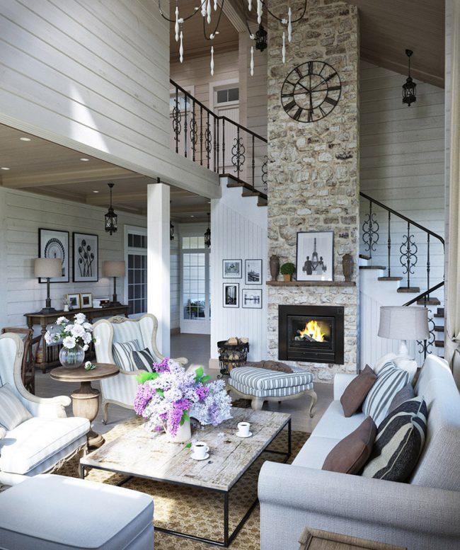 Визуализация двухэтажного дома с оформлением интерьера всех жилых помещений в стиле прованс. Площадь всех помещений первого этажа - 110,5 кв. м