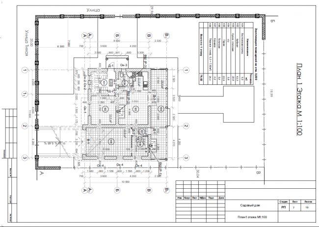 План первого этажа (76,8 кв. м) дома из газобетона