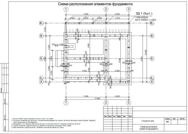 Схема расположения элементов фундамента одноэтажного дома площадью 107 кв.м из конструктивного раздела проекта