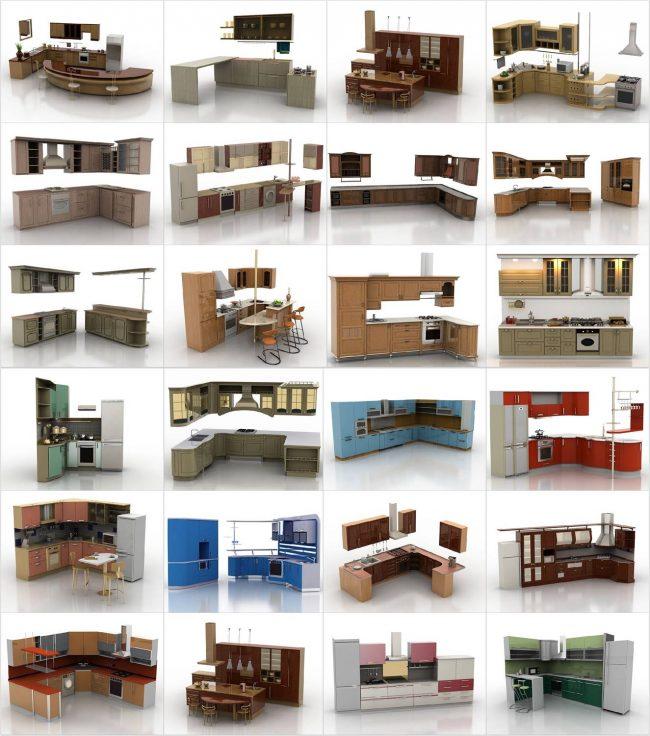 Пример содержимого библиотеки мебели для программы-планировщика. В таком виде ряд производителей распространяет с официальных сайтов точные 3D-модели мебели своего производства