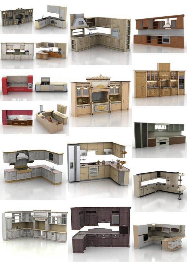 Еще один пример библиотеки трехмерных моделей кухонных гарнитуров. Для некоторых из них возможно менять цвета и материалы фасадов на любые другие