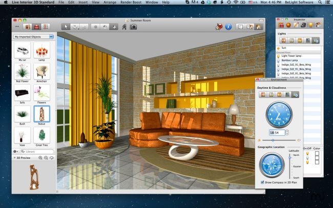 Live Interior 3D - не бесплатная, но с широким функционалом и доступная новичкам, программа для Mac