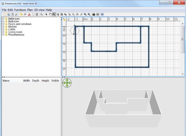 Удобная для первичных набросков планировки помещений программа Sweet Home 3D от eTeks