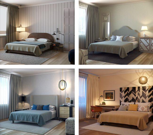 Четыре варианта оформления спальни на основе одного и того же компьютерного эскиза (см. выше)