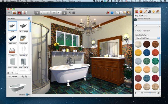 Выбор плитки и сантехники для разработки дизайна ванной комнаты своими руками в Live Interior 3D для Mac