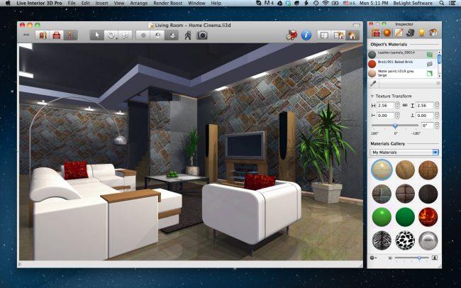 Обычно в стандартном наборе текстур любой программы-планировщика есть все популярные виды отделки: декоративный камень, плитка, ламинат разных цветов
