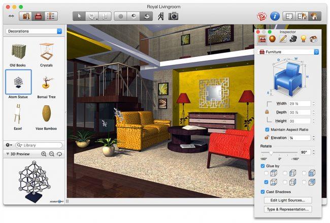 Live Interior 3D для Mac - функциональная, но понятная и новичку. Во всех перечисленных выше программах 3D-проекты помещений и домов можно сохранять и возвращаться к их редактированию когда угодно