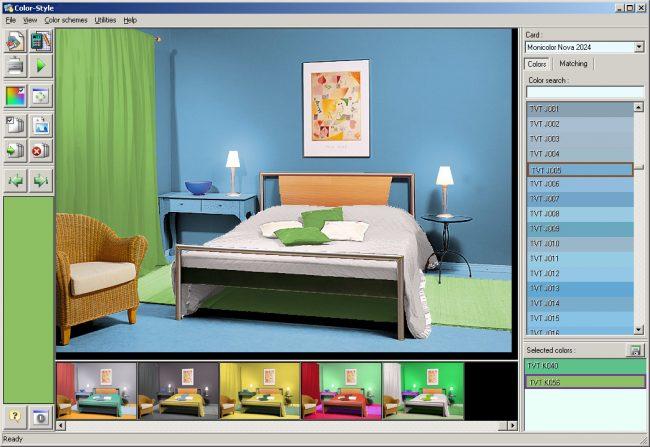 В этой же программе можно подбирать и гармоничные цвета для предметов интерьера, текстиля и тому подобного