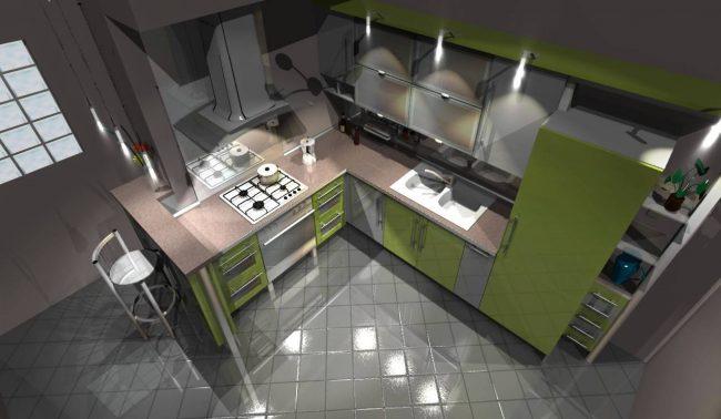 Программы для дизайна интерьера. Сохраненный 3D-вид будущей кухни, нарисованной в программе Pro100