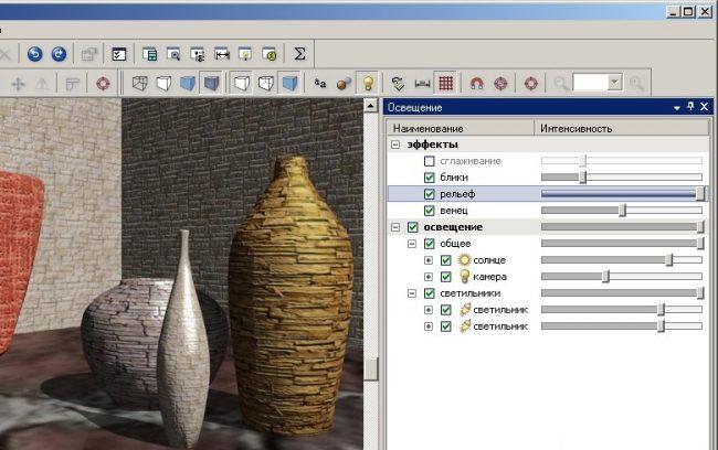Напольные вазы из библиотеки предметов интерьера программы Pro100. Обратите внимание, как прорисовываются тени и блики на 3D-плане комнаты
