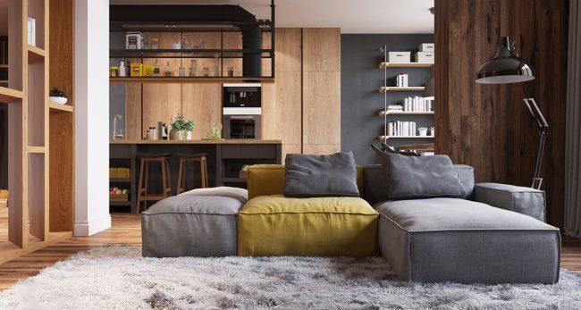 Отличное авторское решение для кухни-студии в 80-метровой нетиповой квартире. Двусторонний низкий диван отделяет кухню с островом и барными стульями от гостиной