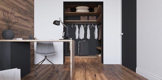 Домашний кабинет, по стилю полностью объединенный со спальней