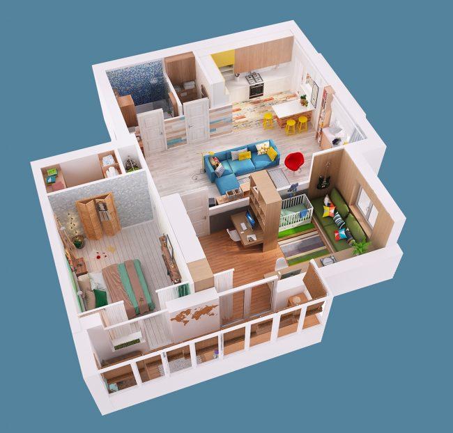 Такую 3D-модель квартиры можно сделать самостоятельно в бесплатных онлайн-сервисах, - это не требует специальных навыков или образования. Но здесь крайне важна точность обмеров