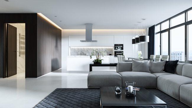 Визуализация частного интерьера в Лондоне: противоположный вид из гостиной в кухню