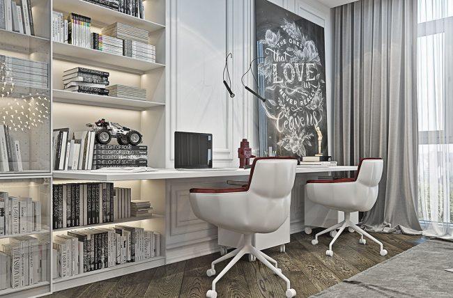 Противоположный вид детской комнаты с письменным столом на двоих
