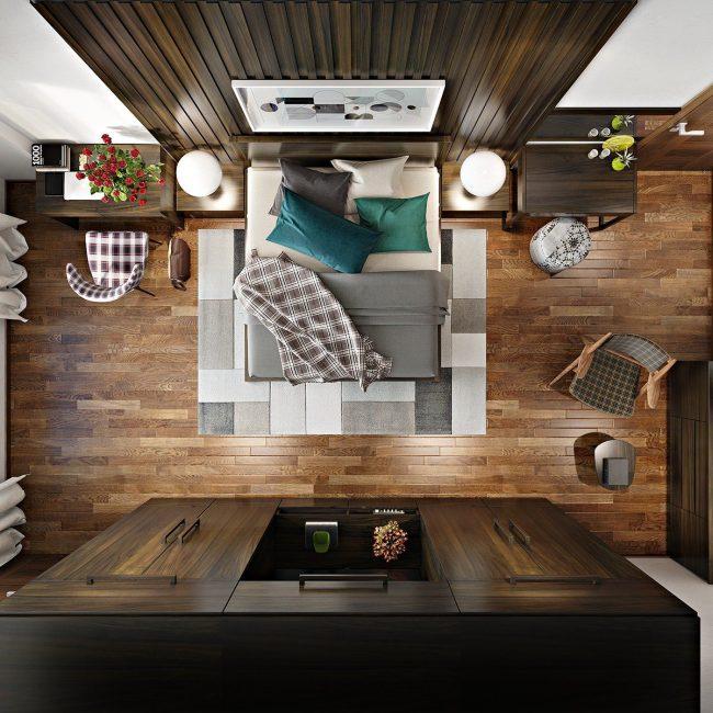 Спальня в натуральных древесно-коричневых тонах, вид сверху