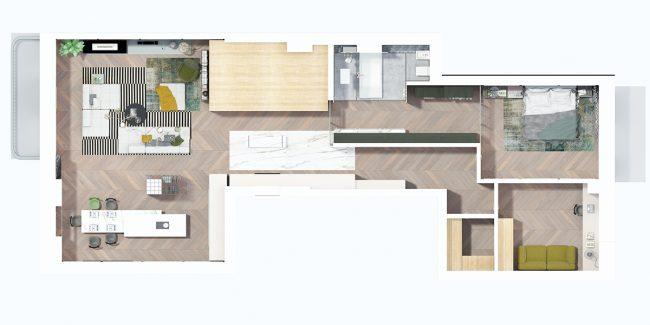 План всех помещений квартиры и примерный план расстановки мебели (реальное фото - см. выше)