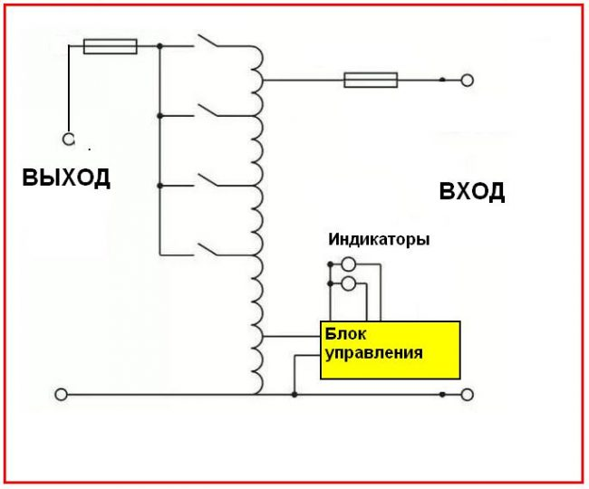Принципиальная электрическая схема релейного стабилизатора напряжения