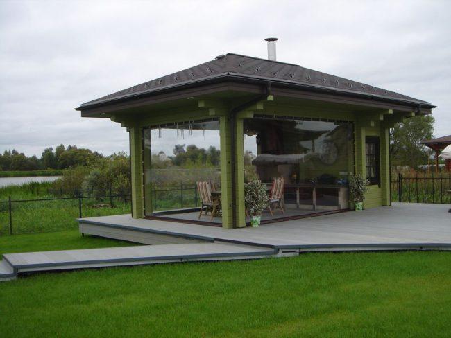 прозрачные шторы для беседок и веранд - водонепроницаемый материал ПХВ штор в панорамной беседке