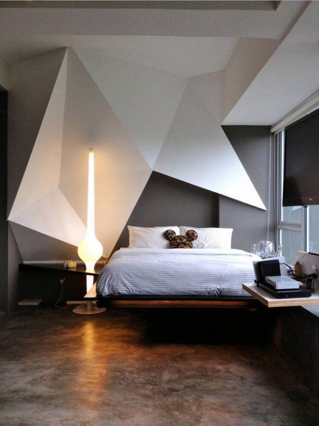 Контрастное оформление спальни в стиле модерн