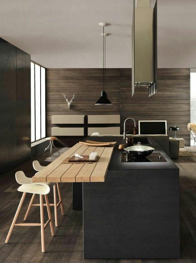 Ламинат на стенах кухни добавит тепла и уюта просторному помещению