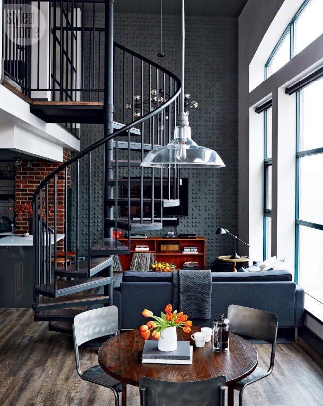 Двухуровневый дом в темных оттенка стиля индастриал