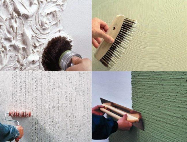 Варианты создания различной текстуры окрашивания стен