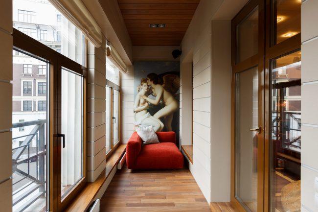 Уютный балкон в стиле модерн