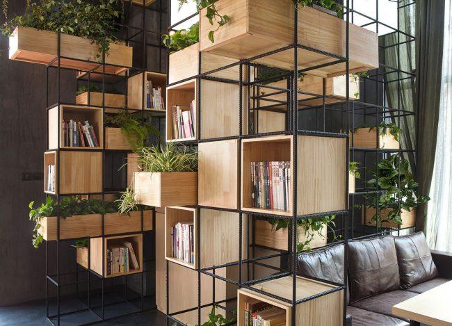 Модульная система хранения для гостиной в экостиле