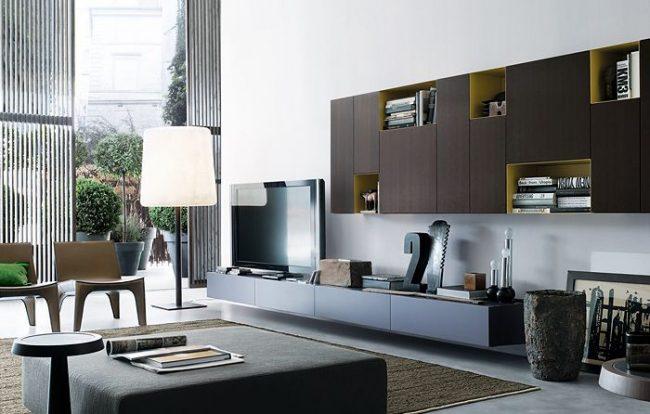 Модульные системы хранения: гостиная в стиле модерн с модульной системой хранения вещей