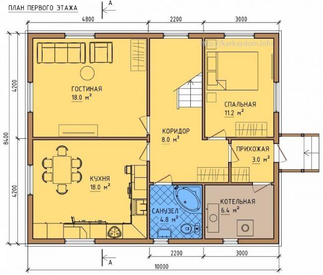 Планировка первого этажа дома 8 на 10