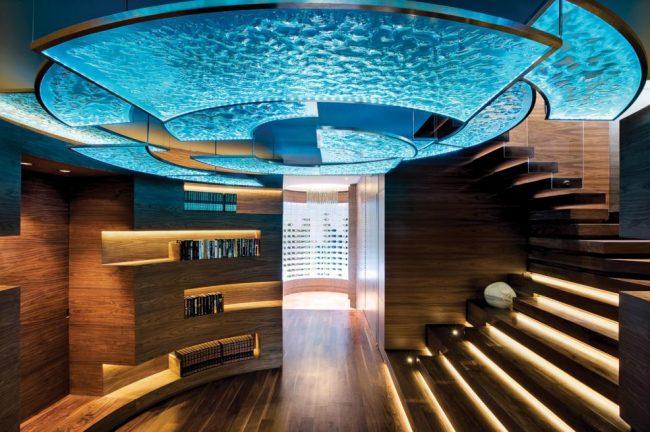 Шикарный парящий потолок с эффектом морской волны