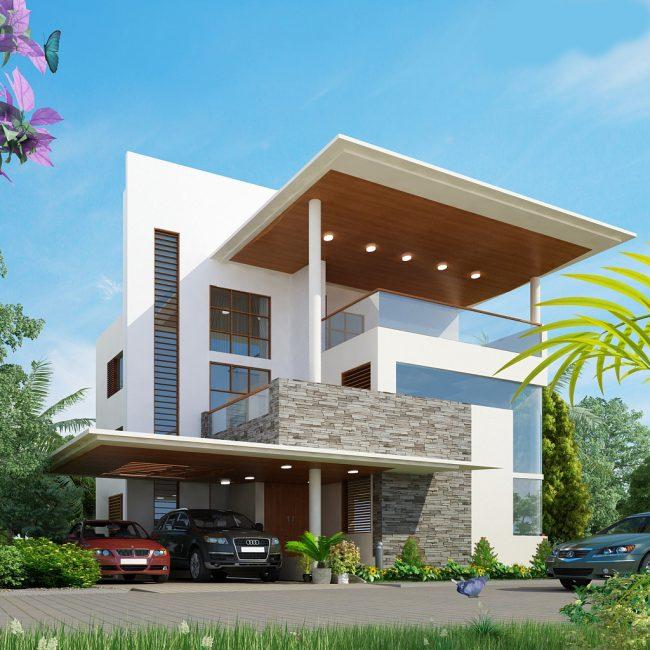 Проект стильного двухэтажного дома с большим балконом и навесом для двух машин