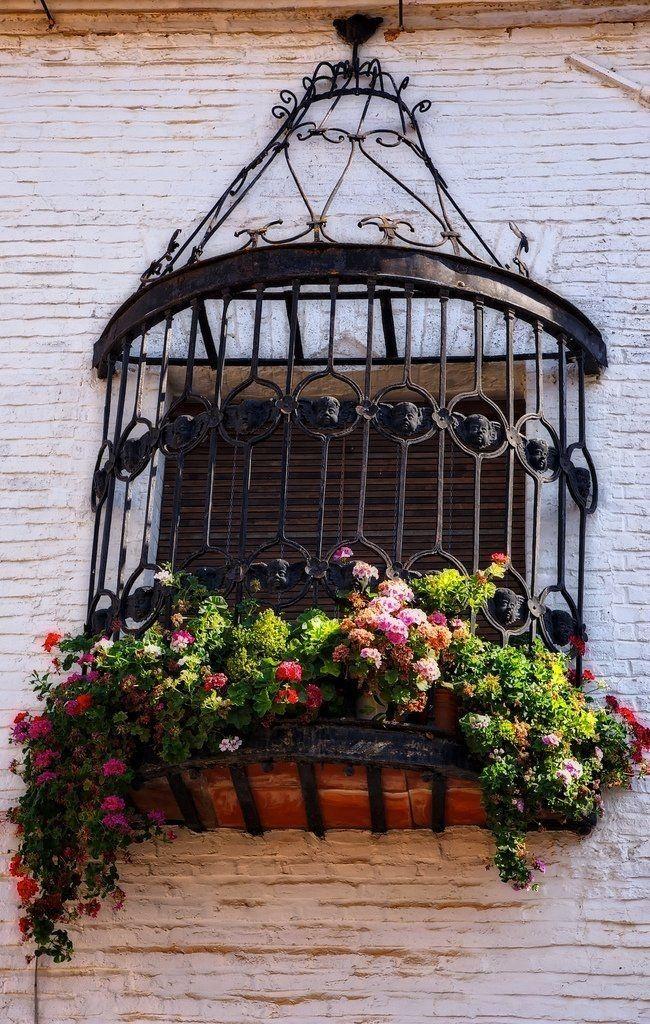 Красивая кованая решетка на окне под старину