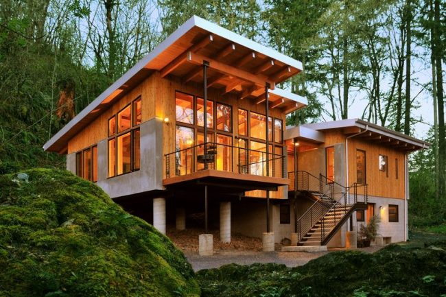 Большой и современный дом, расположенный в лесной зоне