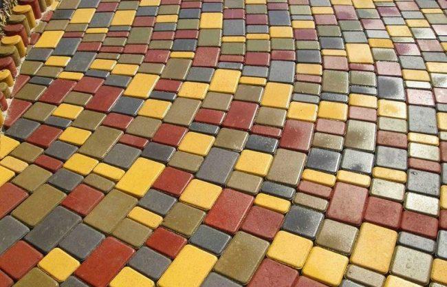 Разноцветная вибропрессованная тротуарная плитка