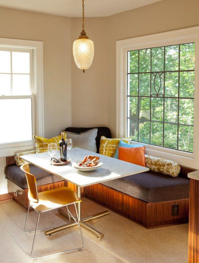 фото угловой диван на кухню