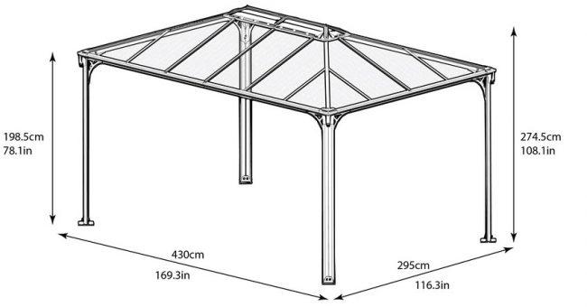 Чертеж веранды с крышей из поликарбоната