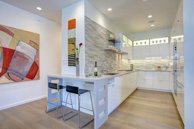 Уютная прямоугольная кухонька в стиле эклектик