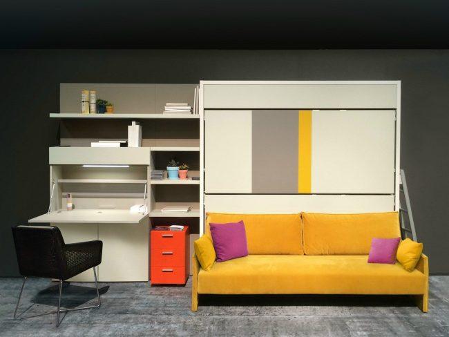 Модульная мебель трансформер для спальни в бело-желтых оттенках
