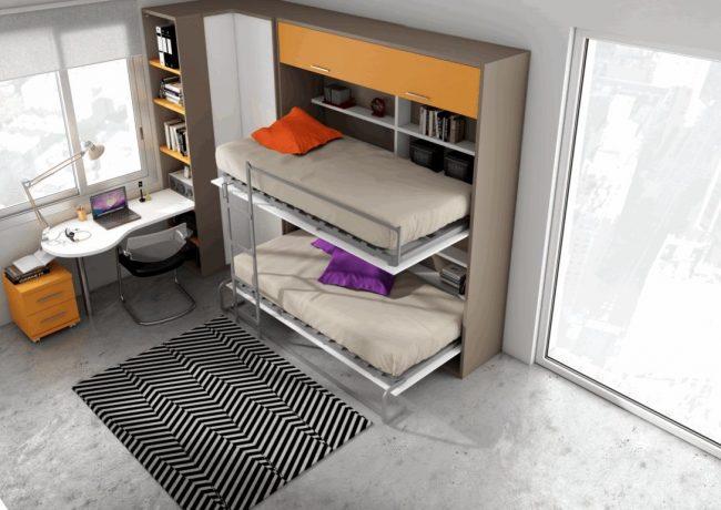 Серый диван-трансформер с креплением к стене - популярный вариант для детской комнаты