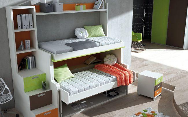 Двухъярусная кровать-трансформер от итальянской фирмы Clei