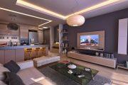 Фото 19 Дизайн совмещенной кухни-гостиной с барной стойкой: 75 мультифункциональных и современных интерьеров